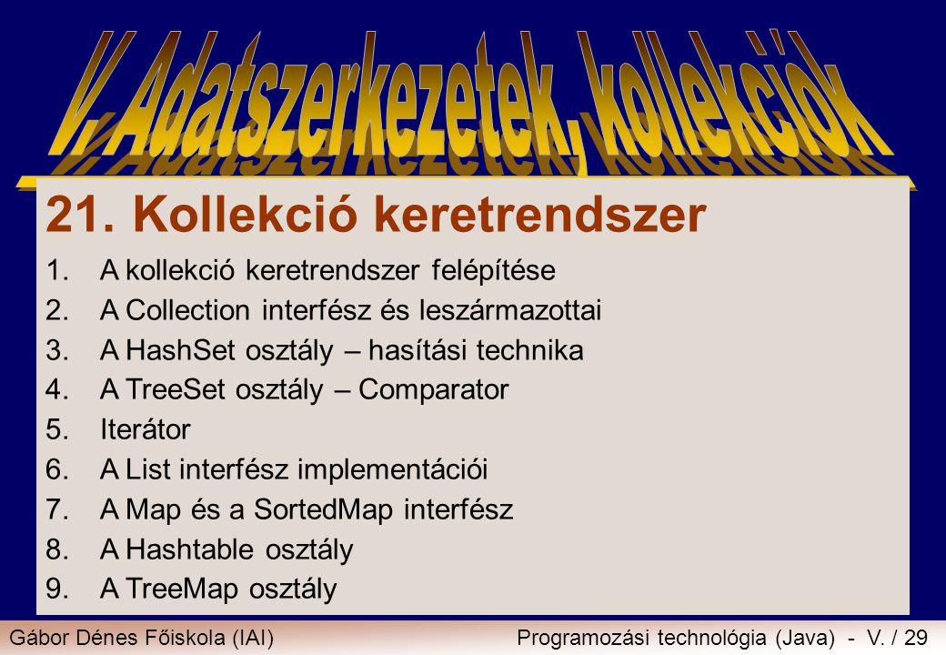 Gábor Dénes Főiskola (IAI)Programozási technológia (Java) - V. / 29 21. Kollekció keretrendszer 1.A kollekció keretrendszer felépítése 2.A Collection