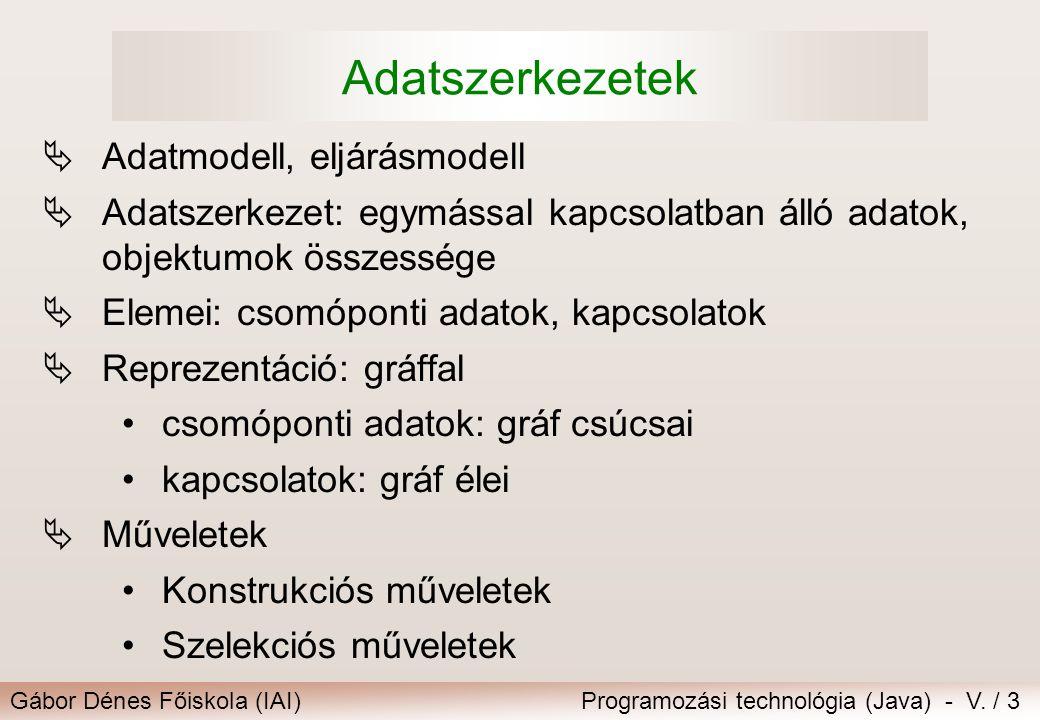 Gábor Dénes Főiskola (IAI)Programozási technológia (Java) - V. / 3 Adatszerkezetek  Adatmodell, eljárásmodell  Adatszerkezet: egymással kapcsolatban