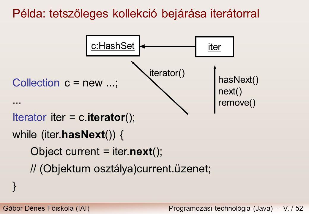 Gábor Dénes Főiskola (IAI)Programozási technológia (Java) - V. / 52 Példa: tetszőleges kollekció bejárása iterátorral Collection c = new...;... Iterat