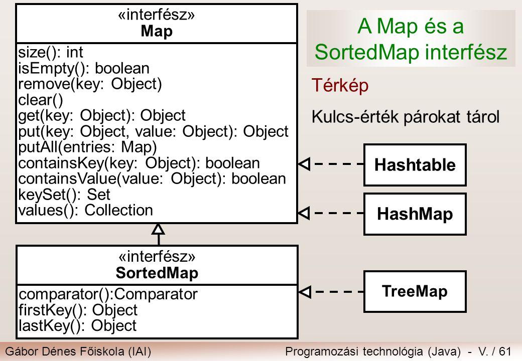 Gábor Dénes Főiskola (IAI)Programozási technológia (Java) - V. / 61 A Map és a SortedMap interfész Térkép Kulcs-érték párokat tárol «interfész» Map si