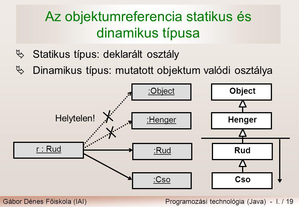 Gábor Dénes Főiskola (IAI)Programozási technológia (Java) - I. / 19 Az objektumreferencia statikus és dinamikus típusa  Statikus típus: deklarált osz