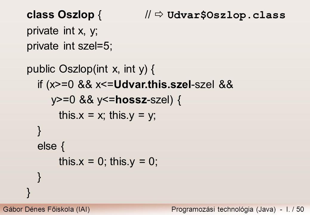 Gábor Dénes Főiskola (IAI)Programozási technológia (Java) - I. / 50 class Oszlop { //  Udvar$Oszlop.class private int x, y; private int szel=5; publi