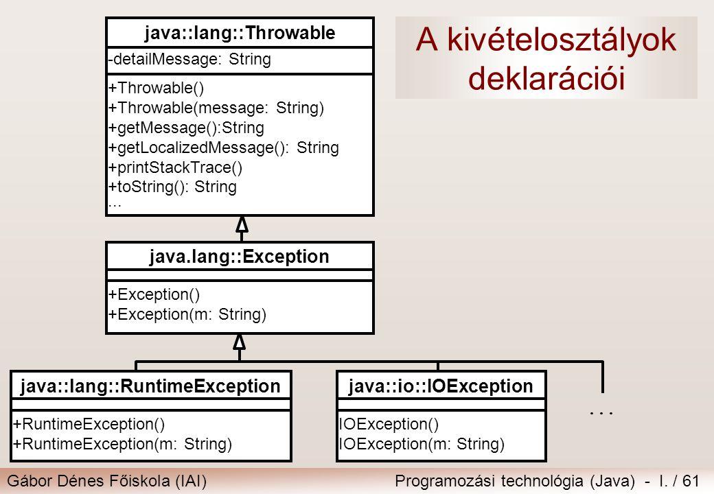 Gábor Dénes Főiskola (IAI)Programozási technológia (Java) - I. / 61 A kivételosztályok deklarációi +RuntimeException() +RuntimeException(m: String) ja