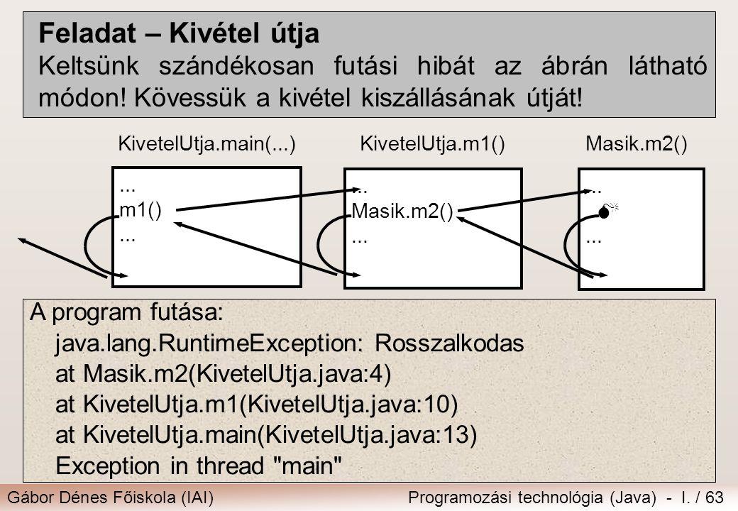 Gábor Dénes Főiskola (IAI)Programozási technológia (Java) - I. / 63 Feladat – Kivétel útja Keltsünk szándékosan futási hibát az ábrán látható módon! K