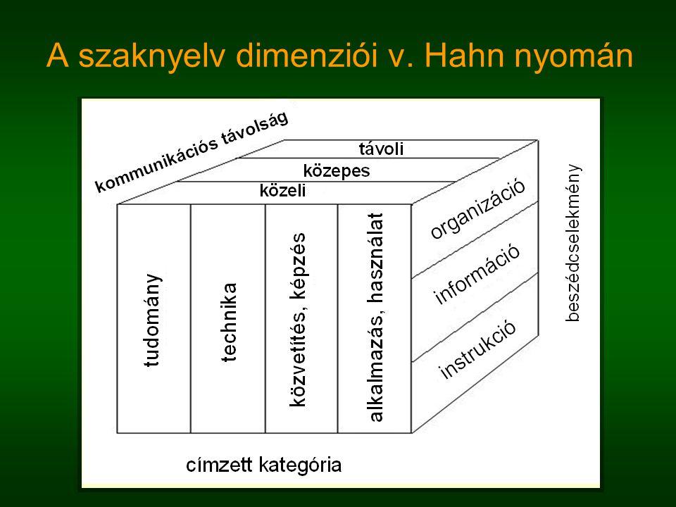 A szaknyelv definíciója von Hahn nyomán  A szaknyelvek konstitutív beszédcselekmények valamely technikai vagy tudományos célirányos cselekvési és munkaterületen, valamint kijelentések, amelyek a cselekedeteket kommentálják.