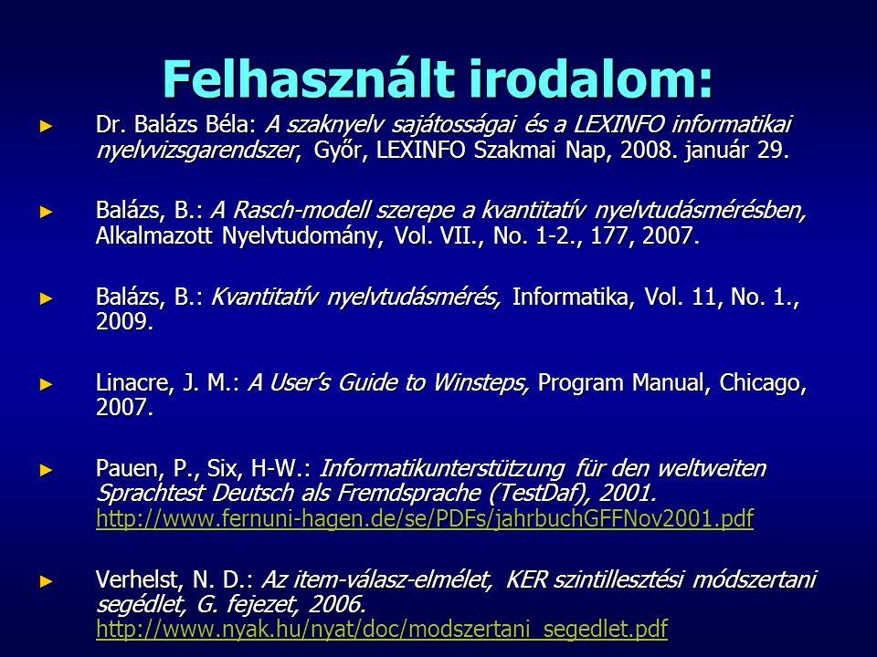 Felhasznált irodalom: ► Dr. Balázs Béla: A szaknyelv sajátosságai és a LEXINFO informatikai nyelvvizsgarendszer, Győr, LEXINFO Szakmai Nap, 2008. janu