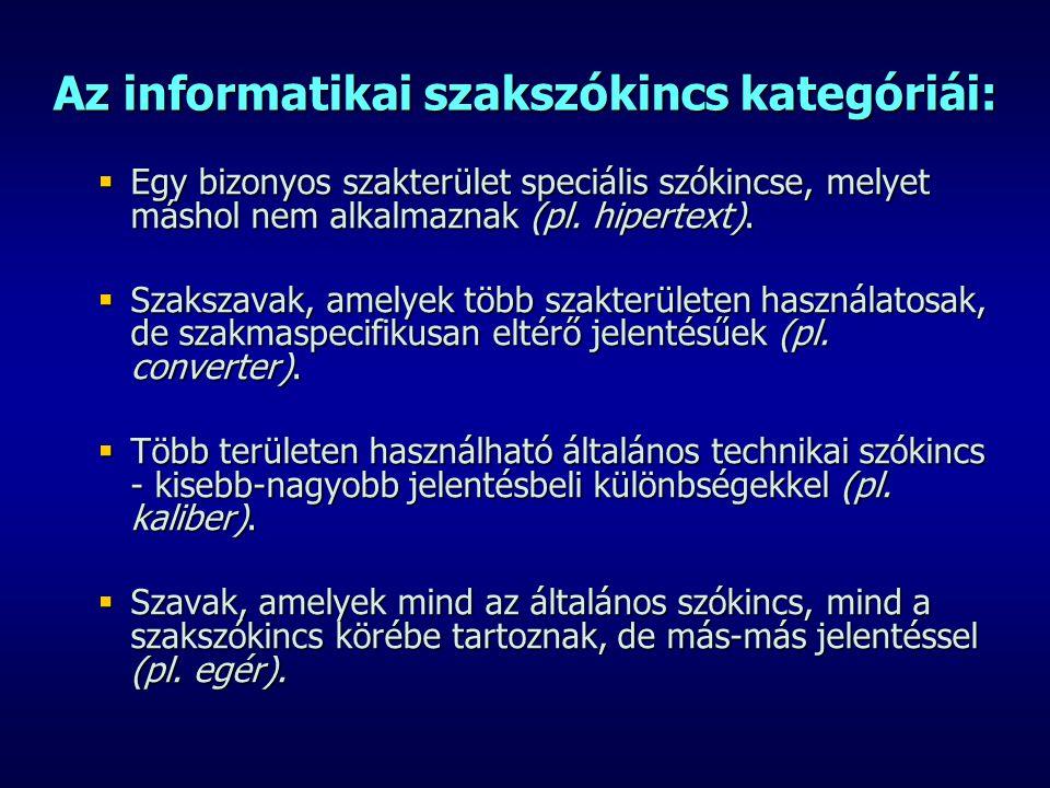 Az informatikai szakszókincs kategóriái:  Egy bizonyos szakterület speciális szókincse, melyet máshol nem alkalmaznak (pl. hipertext).  Szakszavak,