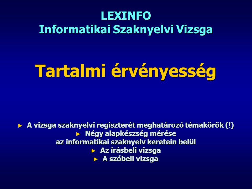 LEXINFO Informatikai Szaknyelvi Vizsga Tartalmi érvényesség ► A vizsga szaknyelvi regiszterét meghatározó témakörök (!) ► Négy alapkészség mérése az i