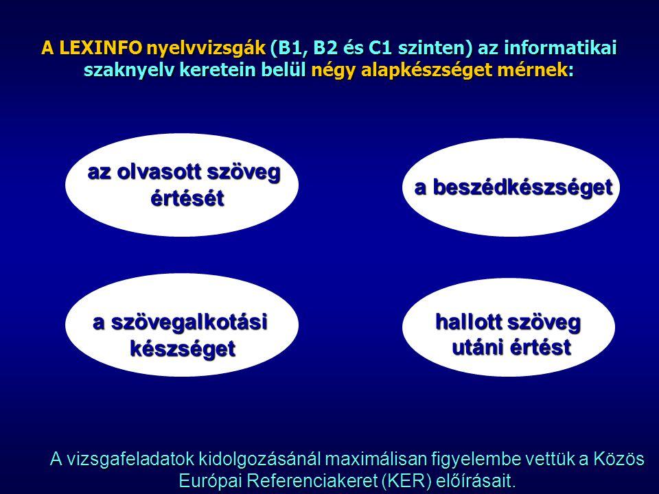 A LEXINFO nyelvvizsgák (B1, B2 és C1 szinten) az informatikai szaknyelv keretein belül négy alapkészséget mérnek: A vizsgafeladatok kidolgozásánál maximálisan figyelembe vettük a Közös Európai Referenciakeret (KER) előírásait.
