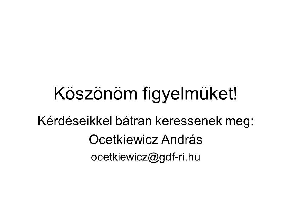 Köszönöm figyelmüket! Kérdéseikkel bátran keressenek meg: Ocetkiewicz András ocetkiewicz@gdf-ri.hu