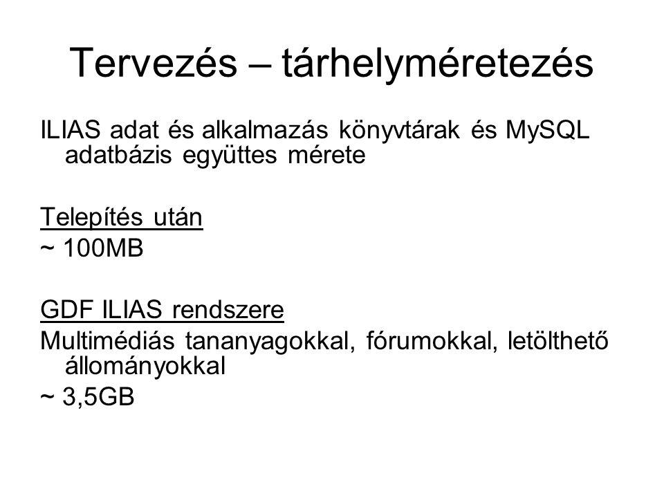 Tervezés – tárhelyméretezés ILIAS adat és alkalmazás könyvtárak és MySQL adatbázis együttes mérete Telepítés után ~ 100MB GDF ILIAS rendszere Multiméd