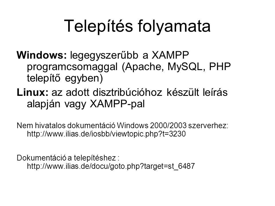 Telepítés folyamata Windows: legegyszerűbb a XAMPP programcsomaggal (Apache, MySQL, PHP telepítő egyben) Linux: az adott disztribúcióhoz készült leírá