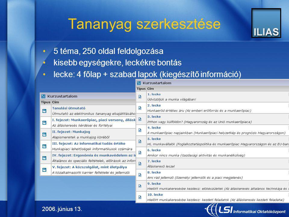 2006. június 13. 4 Tananyag szerkesztése 5 téma, 250 oldal feldolgozása kisebb egységekre, leckékre bontás lecke: 4 főlap + szabad lapok (kiegészítő i