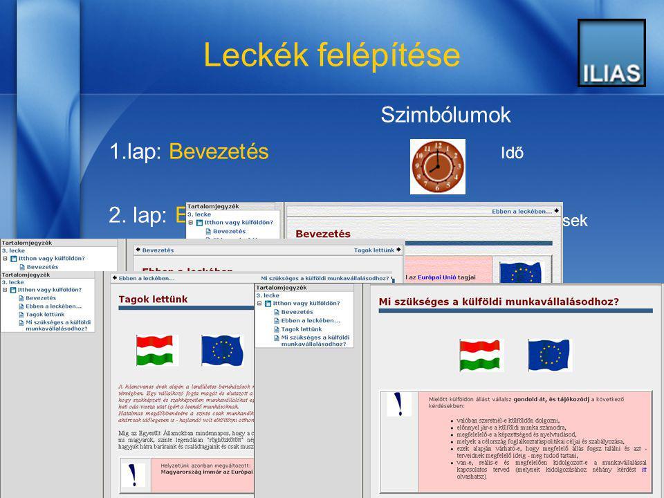 2006. június 13. 6 Leckék felépítése 1.lap: Bevezetés 2. lap: Ebben a leckében… 3.,4. lap: Témalapok Szimbólumok Idő Célkitűzések Fontos megjegyzések