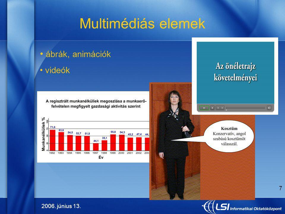 2006. június 13. 7 Multimédiás elemek ábrák, animációk videók