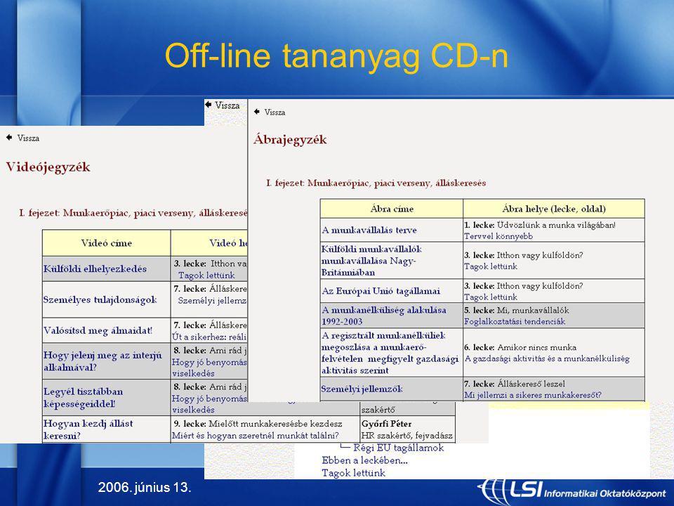2006. június 13. 9 Off-line tananyag CD-n