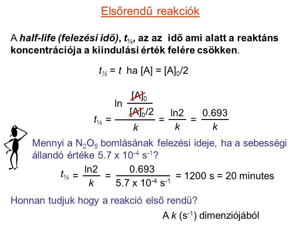 Elsőrendű reakciók A half-life (felezési idő), t ½, az az idő ami alatt a reaktáns koncentrációja a kiindulási érték felére csökken. t ½ = t ha [A] =