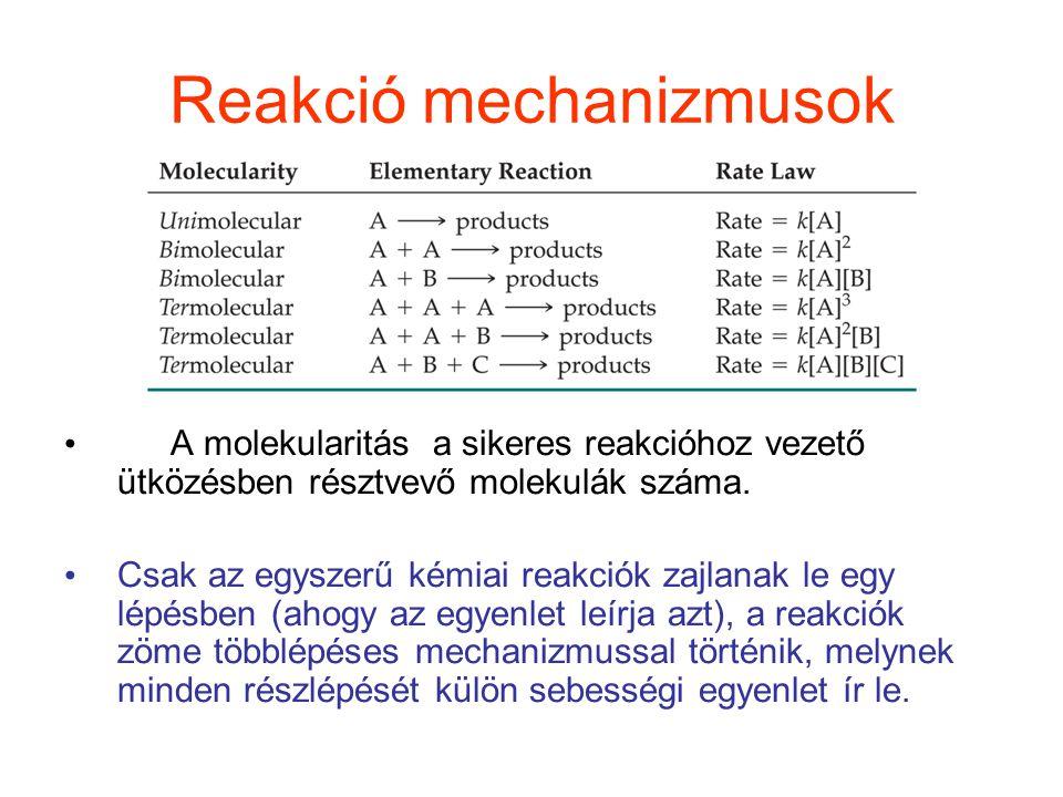 Reakció mechanizmusok A molekularitás a sikeres reakcióhoz vezető ütközésben résztvevő molekulák száma. Csak az egyszerű kémiai reakciók zajlanak le e