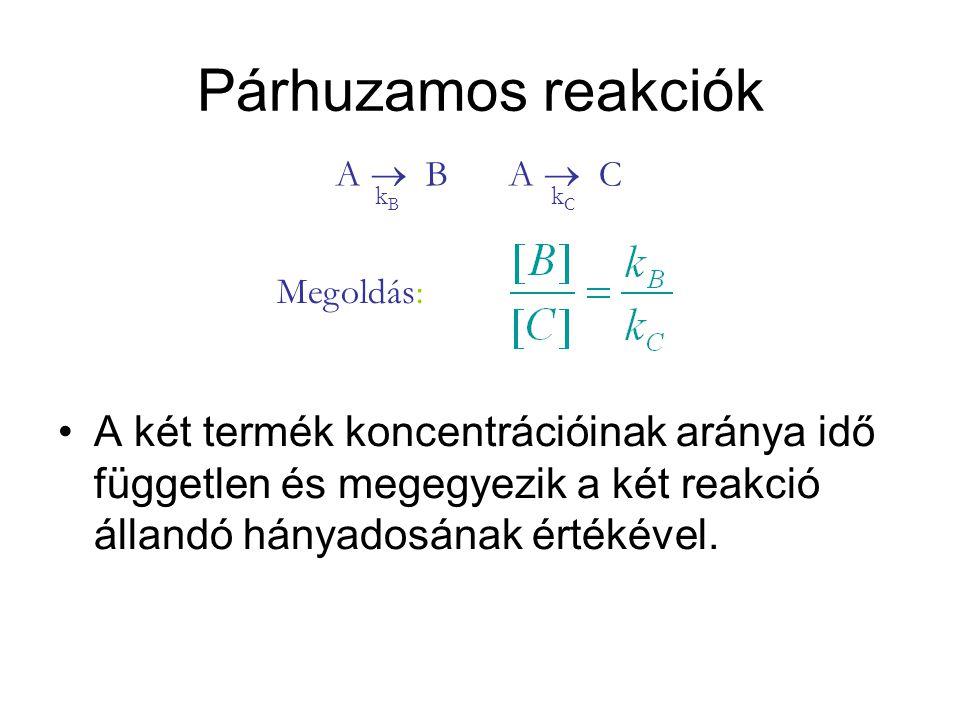 Párhuzamos reakciók A két termék koncentrációinak aránya idő független és megegyezik a két reakció állandó hányadosának értékével. A  B kBkB A  C kC