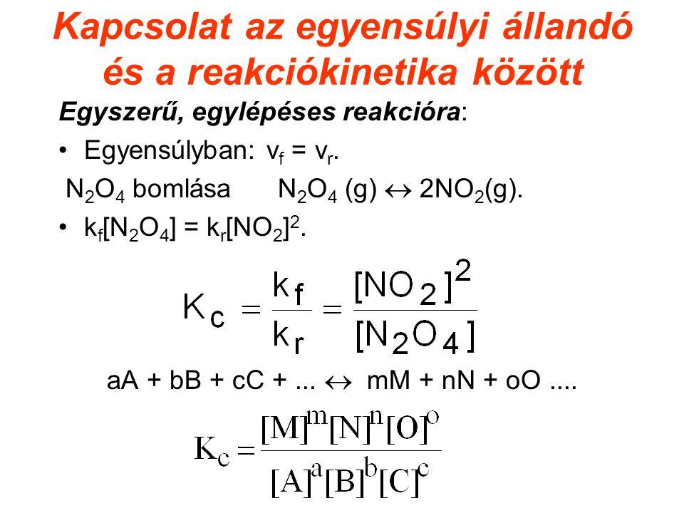 Kapcsolat az egyensúlyi állandó és a reakciókinetika között Egyszerű, egylépéses reakcióra: Egyensúlyban: v f = v r. N 2 O 4 bomlása N 2 O 4 (g)  2NO