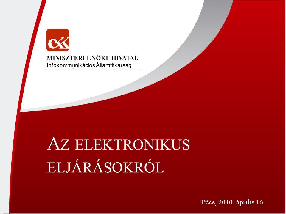 A Z ELEKTRONIKUS ELJÁRÁSOKRÓL Infokommunikációs Államtitkárság MINISZTERELNÖKI HIVATAL Pécs, 2010. április 16.