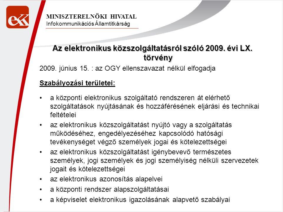 Infokommunikációs Államtitkárság MINISZTERELNÖKI HIVATAL Az elektronikus közszolgáltatásról szóló 2009. évi LX. törvény 2009. június 15. : az OGY elle
