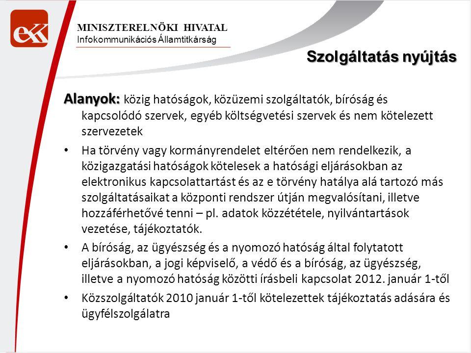 Infokommunikációs Államtitkárság MINISZTERELNÖKI HIVATAL Alanyok: Alanyok: közig hatóságok, közüzemi szolgáltatók, bíróság és kapcsolódó szervek, egyé