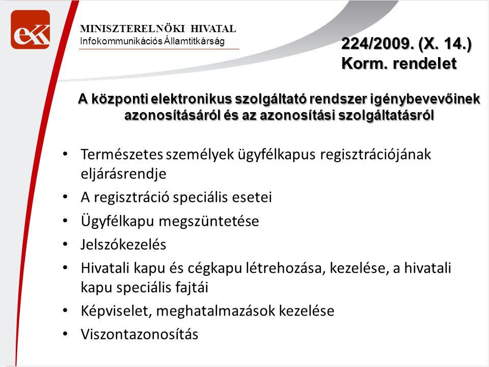 Infokommunikációs Államtitkárság MINISZTERELNÖKI HIVATAL 224/2009. (X. 14.) Korm. rendelet A központi elektronikus szolgáltató rendszer igénybevevőine