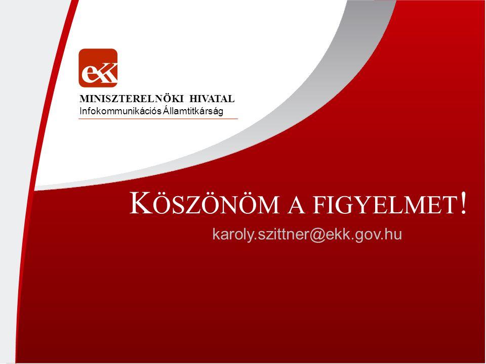 K ÖSZÖNÖM A FIGYELMET ! karoly.szittner@ekk.gov.hu Infokommunikációs Államtitkárság MINISZTERELNÖKI HIVATAL