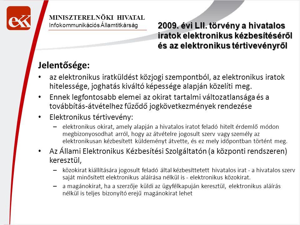 Infokommunikációs Államtitkárság MINISZTERELNÖKI HIVATAL Jelentősége: az elektronikus iratküldést közjogi szempontból, az elektronikus iratok hiteless