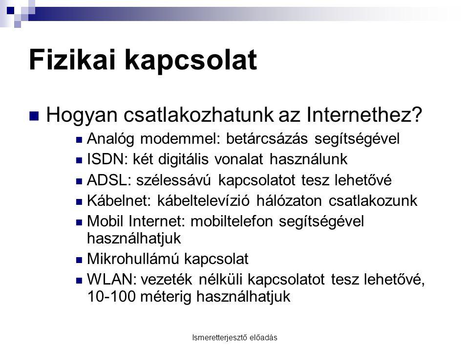 Ismeretterjesztő előadás Fizikai kapcsolat Hogyan csatlakozhatunk az Internethez? Analóg modemmel: betárcsázás segítségével ISDN: két digitális vonala