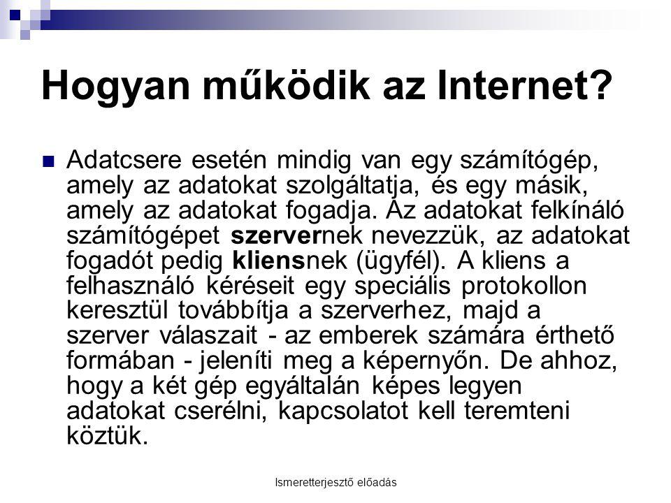 Ismeretterjesztő előadás Hogyan működik az Internet? Adatcsere esetén mindig van egy számítógép, amely az adatokat szolgáltatja, és egy másik, amely a