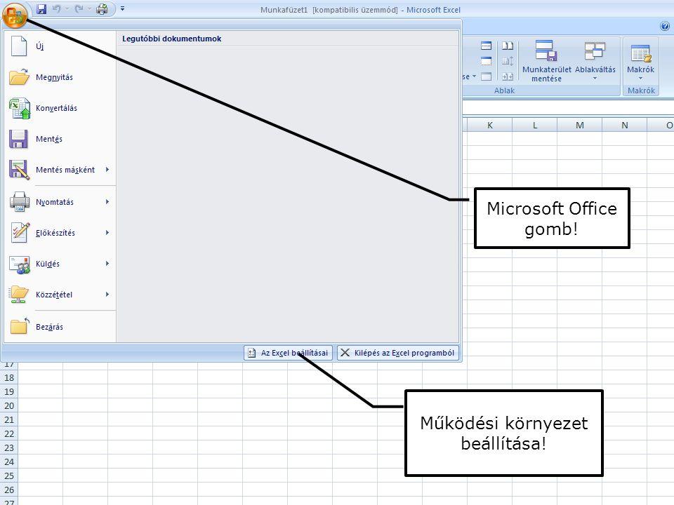 Microsoft Office gomb! Működési környezet beállítása!