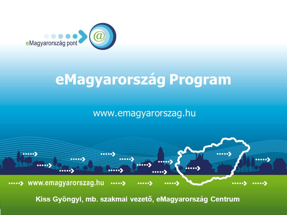 eMagyarország Program www.emagyarorszag.hu Kiss Gyöngyi, mb. szakmai vezető, eMagyarország Centrum
