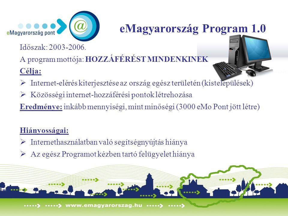 eMagyarország Program 1.0 Időszak: 2003-2006. A program mottója: HOZZÁFÉRÉST MINDENKINEK Célja:  Internet-elérés kiterjesztése az ország egész terüle