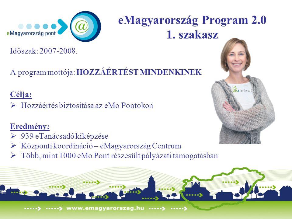 eMagyarország Program 2.0 1. szakasz Időszak: 2007-2008. A program mottója: HOZZÁÉRTÉST MINDENKINEK Célja:  Hozzáértés biztosítása az eMo Pontokon Er