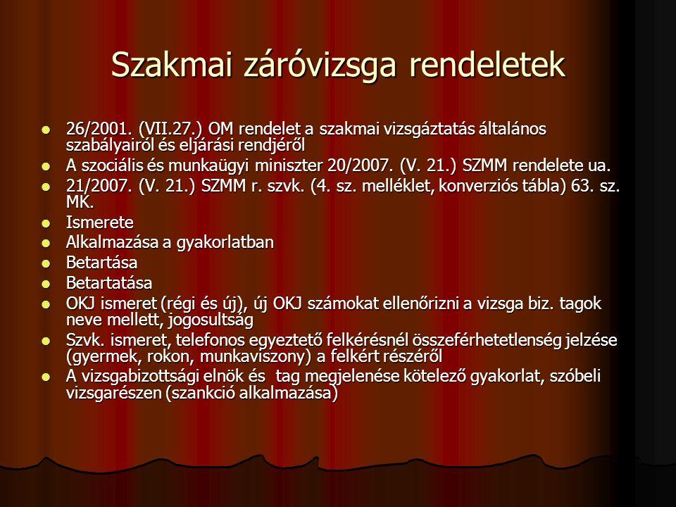 Szakmai záróvizsga rendeletek 26/2001. (VII.27.) OM rendelet a szakmai vizsgáztatás általános szabályairól és eljárási rendjéről 26/2001. (VII.27.) OM