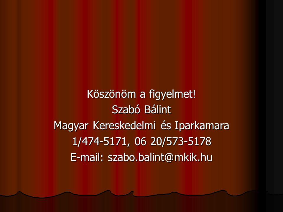 Köszönöm a figyelmet! Szabó Bálint Magyar Kereskedelmi és Iparkamara 1/474-5171, 06 20/573-5178 E-mail: szabo.balint@mkik.hu