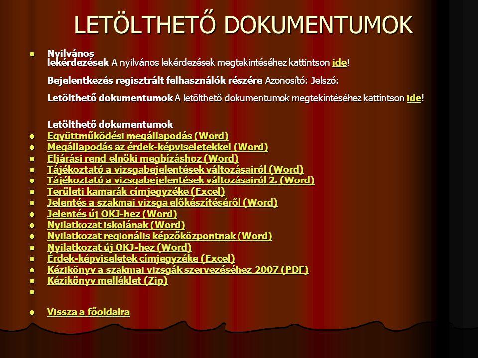 Aktualitások a szakmai vizsgáztatáshoz Kéziköny a szakmai vizsgák szervezéséhez NSZFI-MKIK elkészült, elektronikusan a letölthető dokumentumoknál megtalálható (www.isziir.hu) Kéziköny a szakmai vizsgák szervezéséhez NSZFI-MKIK elkészült, elektronikusan a letölthető dokumentumoknál megtalálható (www.isziir.hu)www.isziir.hu Minőségbiztosítás kidolgozása folyamatban (szakmai felkészítéshez tananyag fejlesztés) Minőségbiztosítás kidolgozása folyamatban (szakmai felkészítéshez tananyag fejlesztés) On-line rendszer kidolgozása folyamatban van a vizsgabejelentések elektronikus fogadására On-line rendszer kidolgozása folyamatban van a vizsgabejelentések elektronikus fogadására Ellenőrzés (tv.