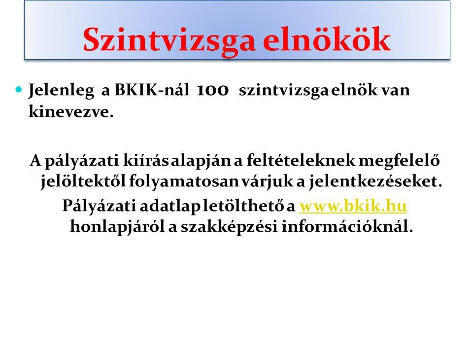 Szintvizsga elnökök Jelenleg a BKIK-nál 100 szintvizsga elnök van kinevezve.