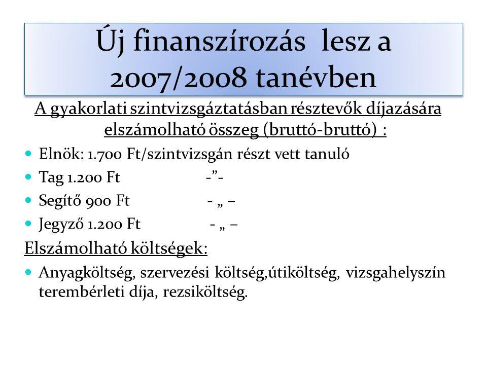 """Új finanszírozás lesz a 2007/2008 tanévben A gyakorlati szintvizsgáztatásban résztevők díjazására elszámolható összeg (bruttó-bruttó) : Elnök: 1.700 Ft/szintvizsgán részt vett tanuló Tag 1.200 Ft - - Segítő 900 Ft - """" – Jegyző 1.200 Ft - """" – Elszámolható költségek: Anyagköltség, szervezési költség,útiköltség, vizsgahelyszín terembérleti díja, rezsiköltség."""