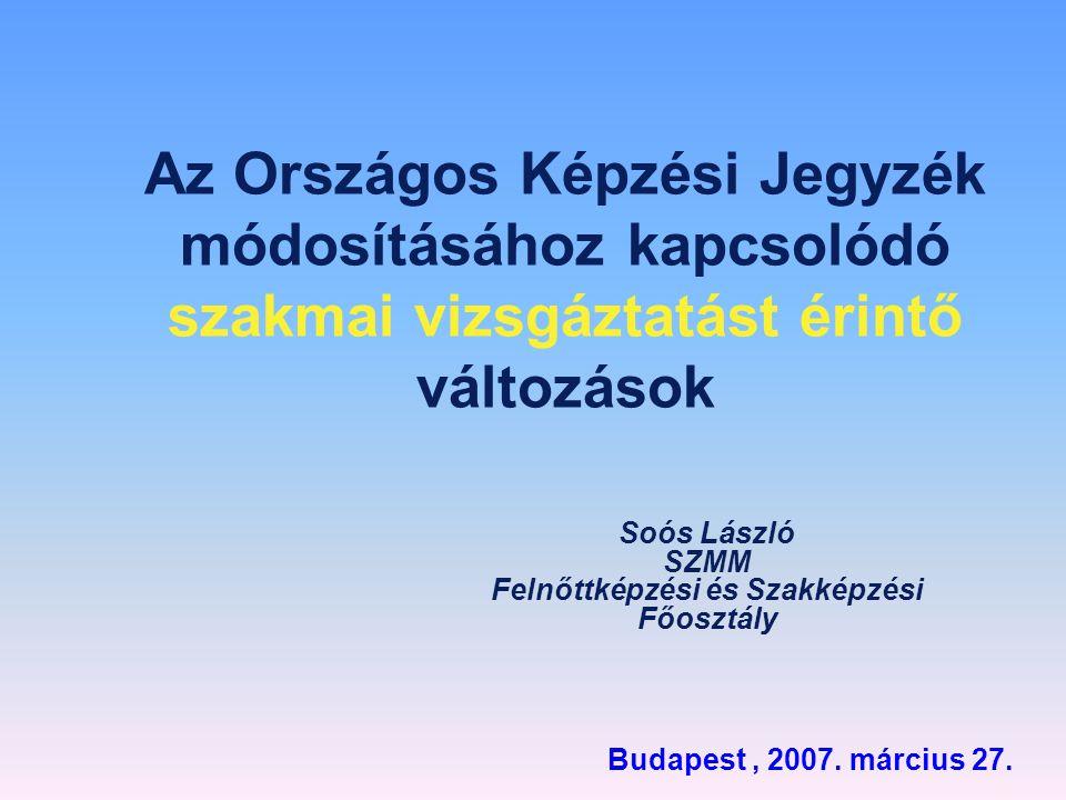 Az Országos Képzési Jegyzék módosításához kapcsolódó szakmai vizsgáztatást érintő változások Soós László SZMM Felnőttképzési és Szakképzési Főosztály
