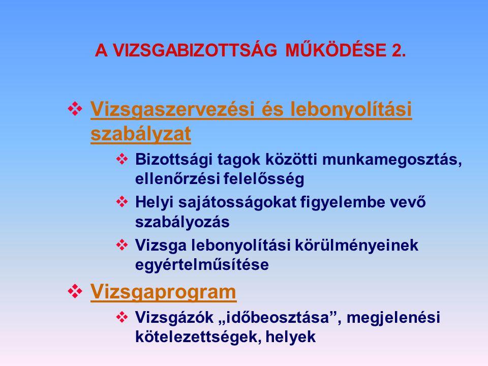 A VIZSGABIZOTTSÁG MŰKÖDÉSE 2.  Vizsgaszervezési és lebonyolítási szabályzat  Bizottsági tagok közötti munkamegosztás, ellenőrzési felelősség  Helyi