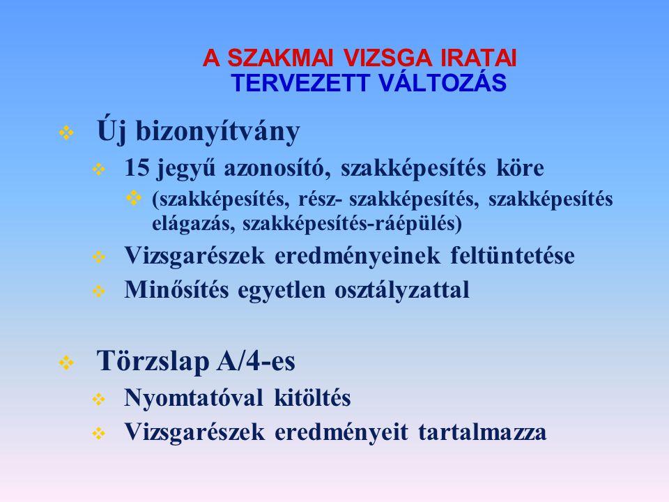 A SZAKMAI VIZSGA IRATAI TERVEZETT VÁLTOZÁS  Új bizonyítvány  15 jegyű azonosító, szakképesítés köre  (szakképesítés, rész- szakképesítés, szakképes