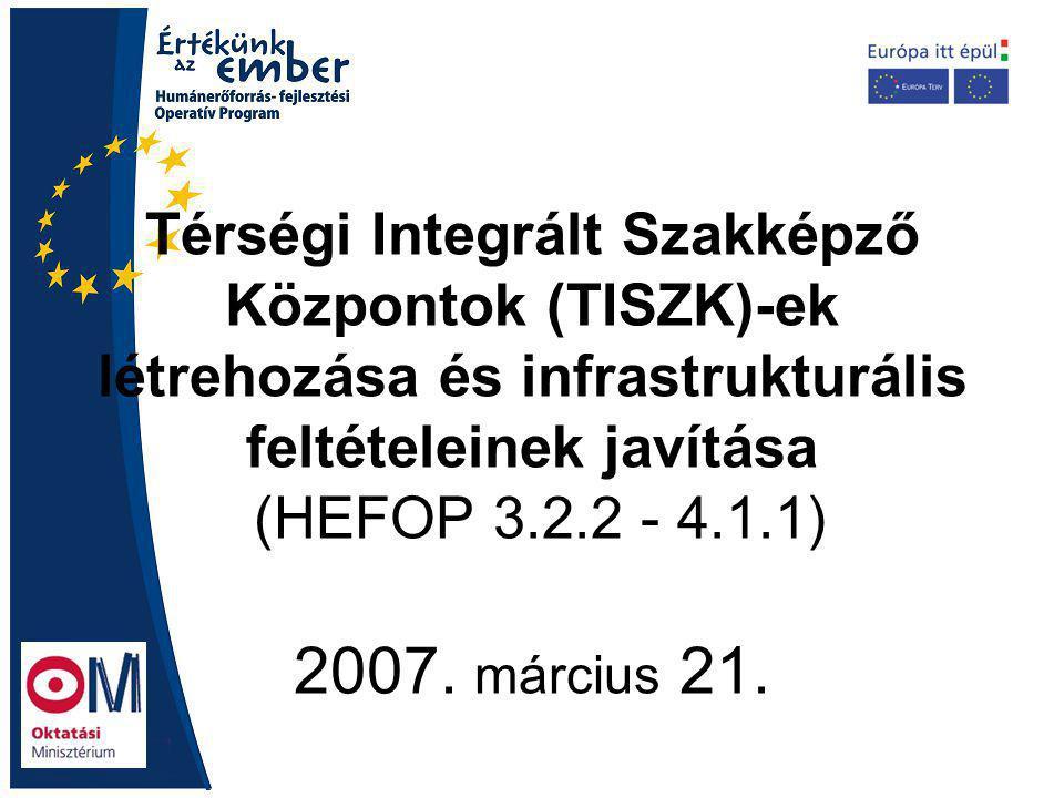 Térségi Integrált Szakképző Központok (TISZK)-ek létrehozása és infrastrukturális feltételeinek javítása (HEFOP 3.2.2 - 4.1.1) 2007.