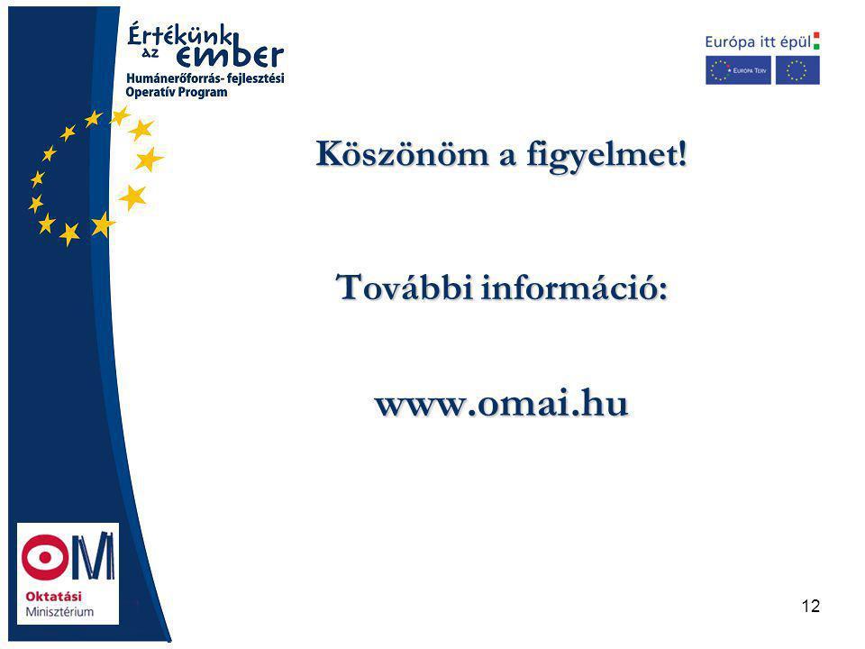 12 Köszönöm a figyelmet! További információ: www.omai.hu