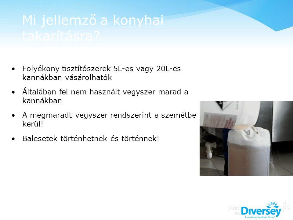 Mi jellemző a konyhai takarításra? Folyékony tisztítószerek 5L-es vagy 20L-es kannákban vásárolhatók Általában fel nem használt vegyszer marad a kanná