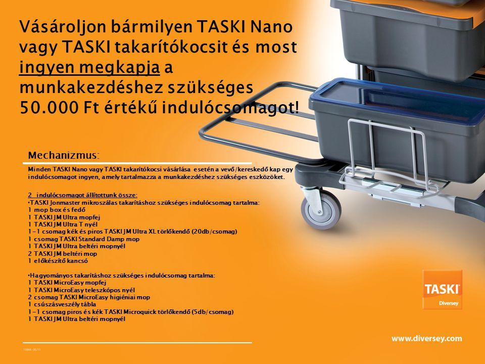 Vásároljon bármilyen TASKI Nano vagy TASKI takarítókocsit és most ingyen megkapja a munkakezdéshez szükséges 50.000 Ft értékű indulócsomagot.