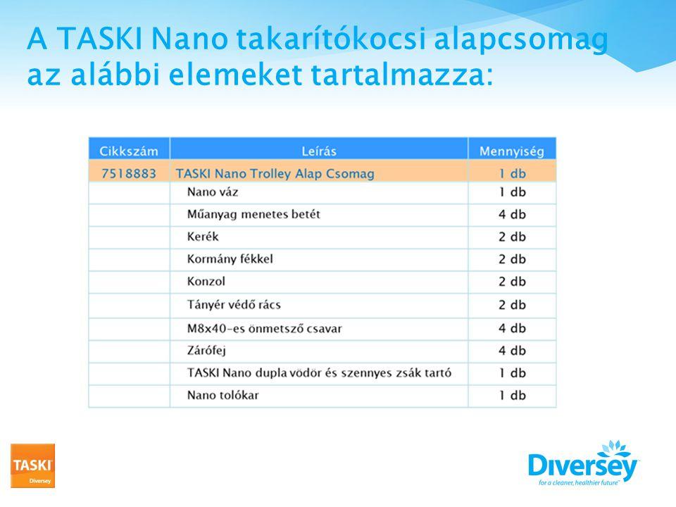 A TASKI Nano takarítókocsi alapcsomag az alábbi elemeket tartalmazza: