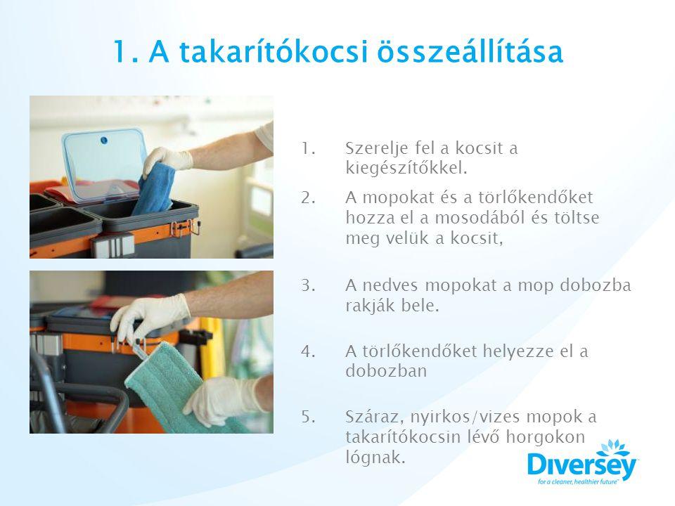 1. A takarítókocsi összeállítása 1.Szerelje fel a kocsit a kiegészítőkkel.